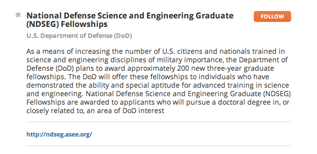 National Defense Science and Engineering Graduate (NDSEG) Fellowships