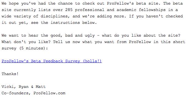 ProFellow Beta Feedback Survey Email