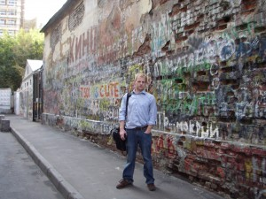 Scott Burns at Tsoi Wall in Moscow
