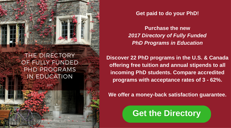 2017 Directory of Fully Funded PhD Programs in Education