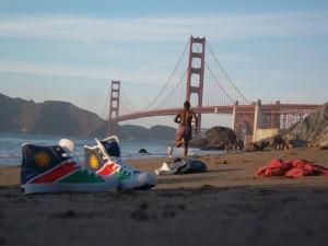 Kavina going for a run on Baker Beach in San Francisco, CA