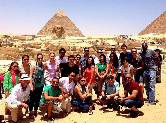 The inaugural class of Gabr Fellows traveling in Egypt