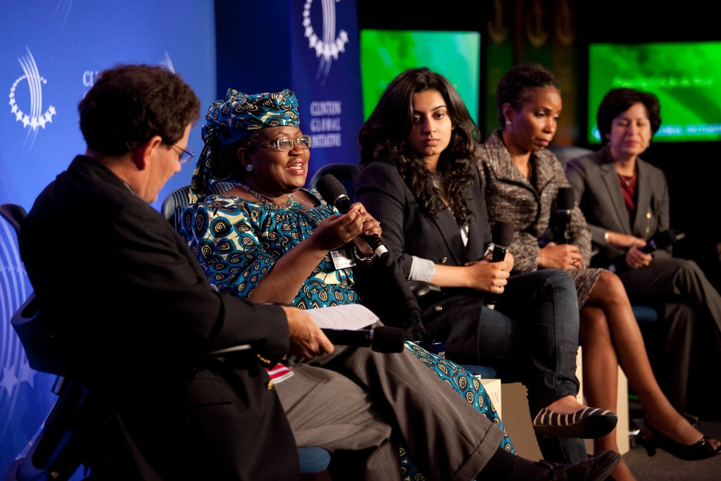 """Tanvi (center) on the panel """"Preparing Girls for the World"""" with Nicholas Kristof of The New York Times; Ngozi Okonjo-Iweala, Managing Director, The World Bank; G(irls)20 2010 Delegate, Helene D. Gayle, President and Shelly Esque, Vice President, Corporate Affairs , CARE USA, and Shelly Esque, Vice President, Corporate Affairs and President, Intel Foundation, Intel Corporation."""