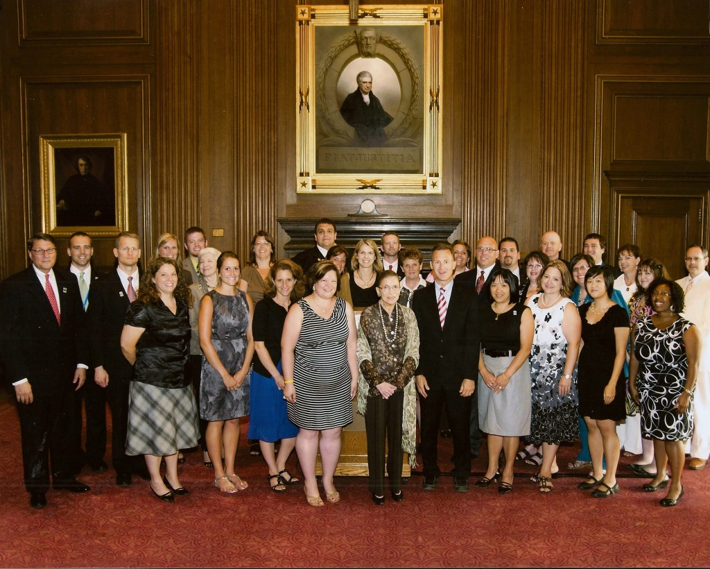 The James Madison Fellowship Summer Institute group with Justice Ruth Bader Ginsburg.