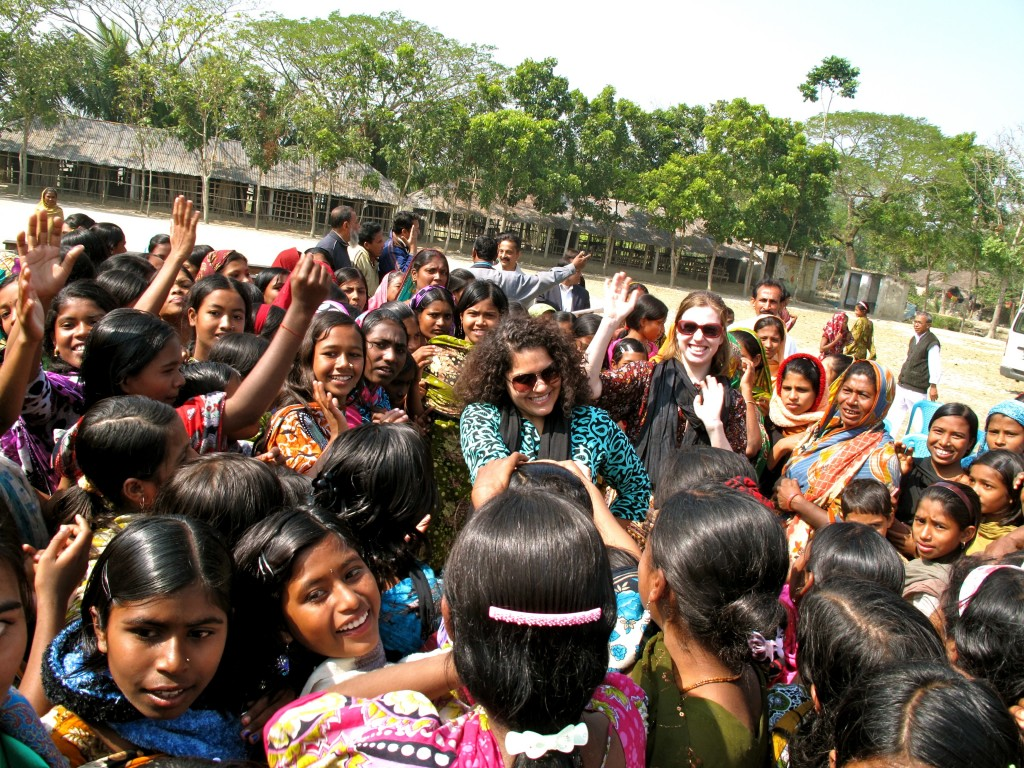 Dancing with students from the Girls Secondary School in Satkhira District, Bangladesh