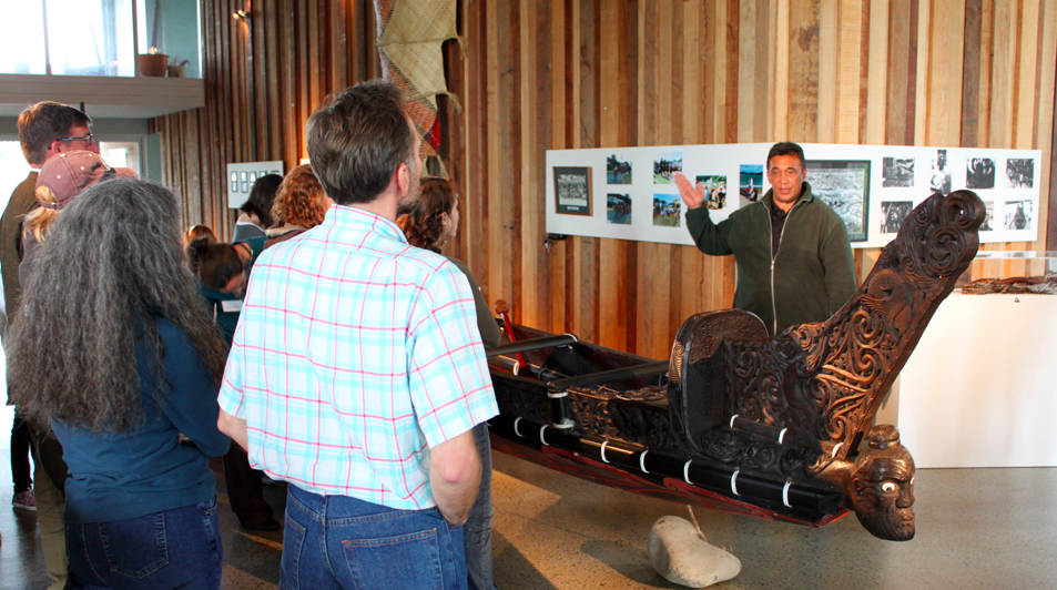 Fulbright grantees are shown a waka during their stay at Waiwhetū Marae
