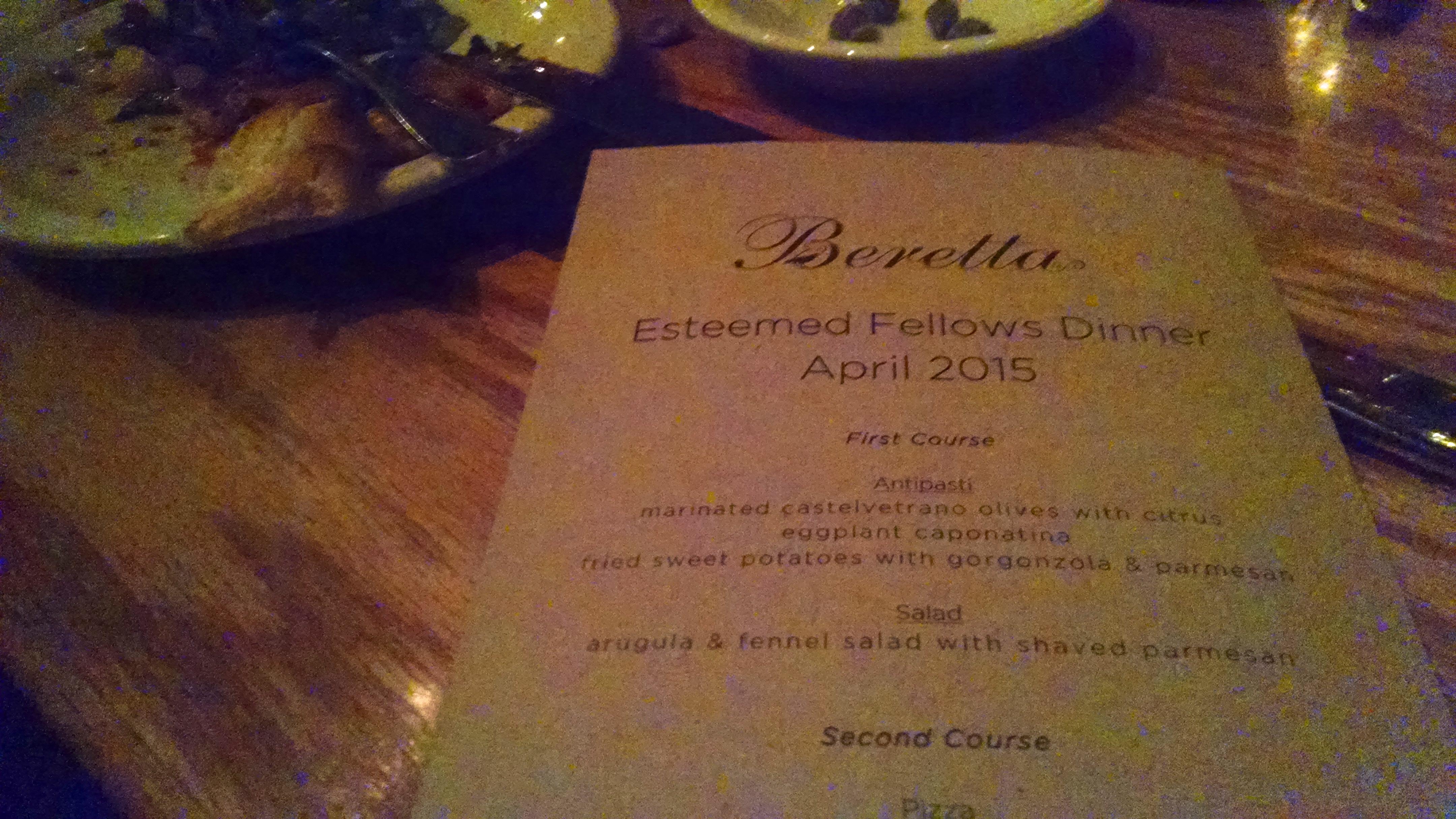 Esteemed Fellows Dinner April 2015 San Francisco