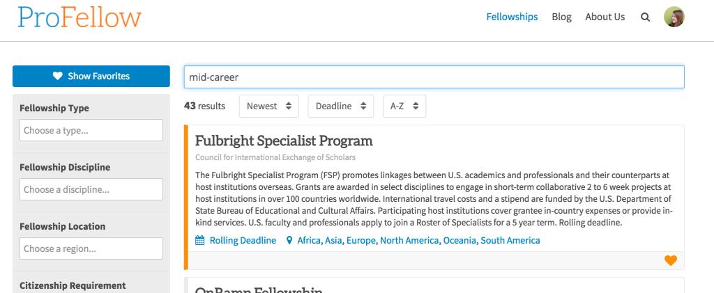 ProFellow Fellowships Database