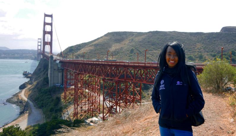 Amanda Gicharu-Kemoli at the Golden Gate Bridge